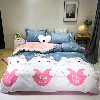 Cute Cartoon Cat Print Bed Cover Set Kids Girl Duvet Cover Adult Child Bed Sheets And Pillowcases Comforter Bedding Set 61059 image