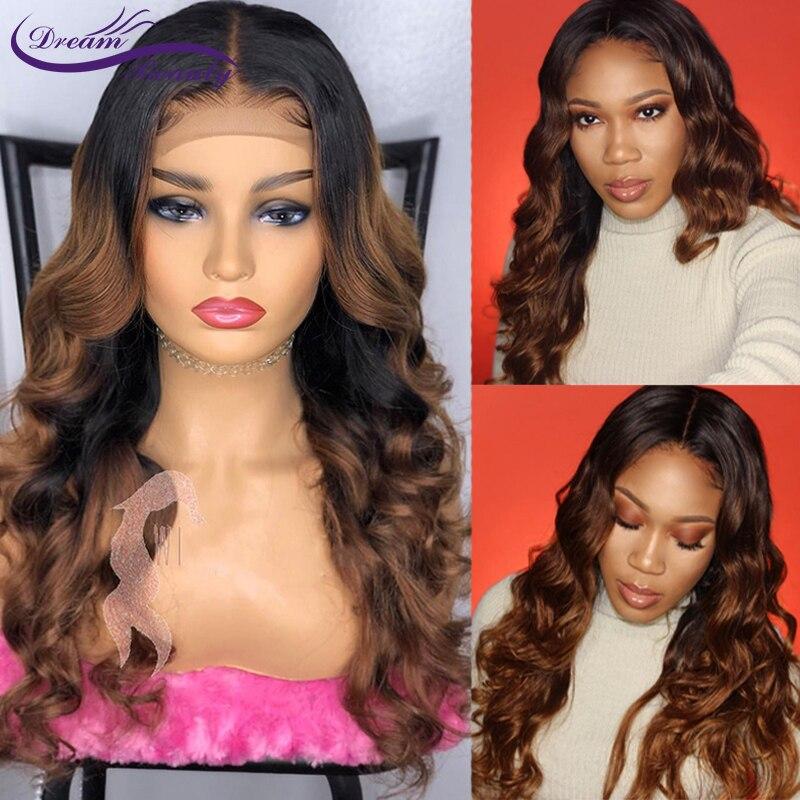 Цвет ed 1b/30 Омбре кружевной передний человеческий парик с детскими волосами prepucked волнистые бразильские яркие цвета Remy Hair Dream Beauty