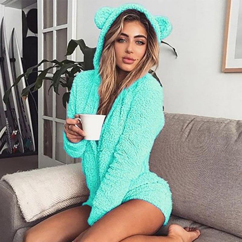 5XL Women Jumpsuits Fleece Pajama Bear Ear Hooded Bodysuit Shorts Winter Warm Tracksuit Streetwear One-piece Sleepwear Plus Size 15