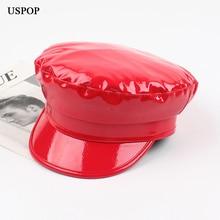 USPOP 2019 Women Newsboy caps female bright PU newsboy cap Solid color military visor Autumn winter hats