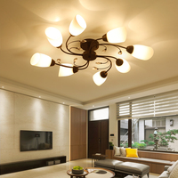 Crystal Ceiling Lights modern fashionable design dining room led lamp pendente white shade lustre 110~220V