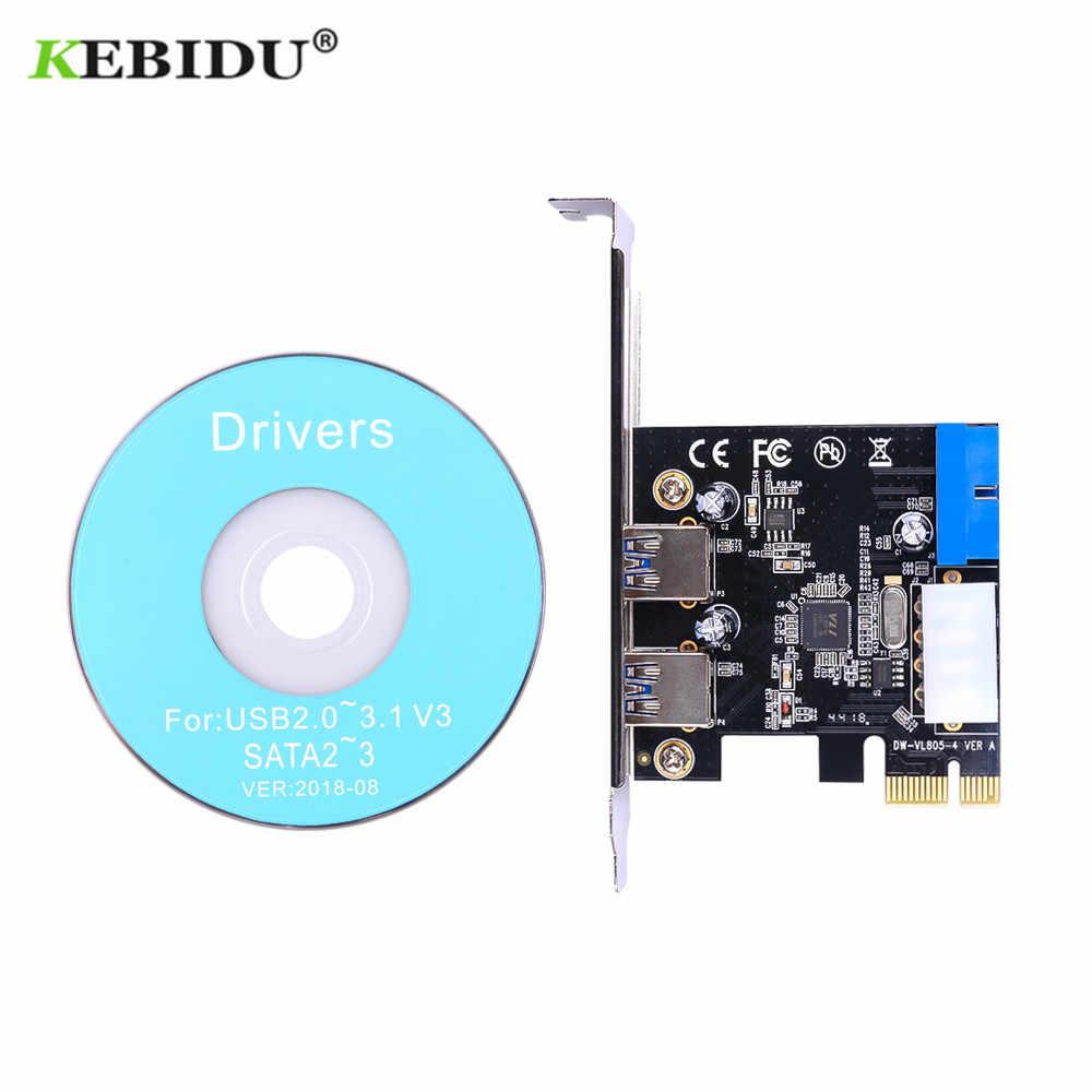 KEBIDU 2 puertos PCI Express USB 3,0 Panel frontal con adaptador de tarjeta de Control 4-Pin y 20 Pin PCI-E tarjeta conector de alimentación Chip VL805