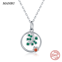 MANBU Monstera leaves necklace jewelry pave setting CZ 925 sterling silver round pendant necklaces women for wedding Hot Sale недорого