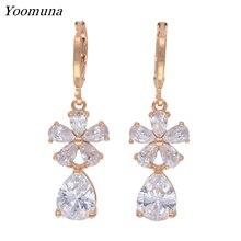 цена на High Quality earrings for women cubic Zircon stone crystal wedding drop Earrings Elegant rose gold 585 dangle earrrings Jewelry