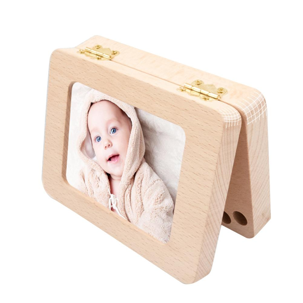 Wooden Photo Frame Fetal Hair Deciduous Tooth Box Children English Storage Box For Gift Boys Girls Baby