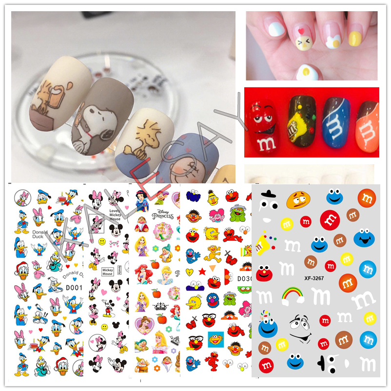 DIY Cute Famous Japanese Cartoon Logo 3D Nail Sticker For Nail Self-adhesive DIY Sticker Decals Tips Manicure Nail Art Decals