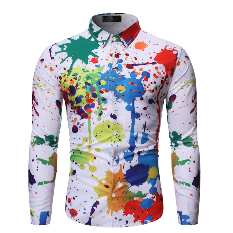 Plus Size Men Shirt Casual Colour Shirt Ink Splash Paint Color Slim Shirts Leisure Men Blouse Long Sleeve Shirt Spring Male Shir