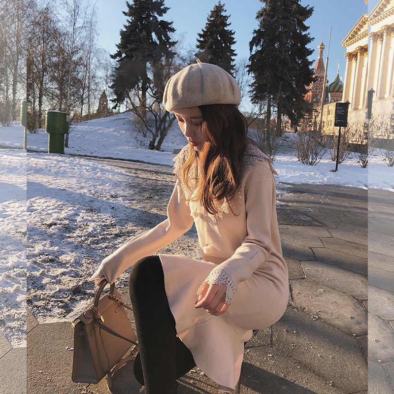 Mishow Herfst Winter Sweety Dame Jurk Voor Vrouwen 2019 Temperament Ruches Slim Fit Kant Trompet Jurk MX18D5910