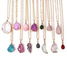 22 stili Natural agate druzy pendente di cristallo dei monili della collana di energia di guarigione lucky gem collane di pietra reiki gioielli per le donne