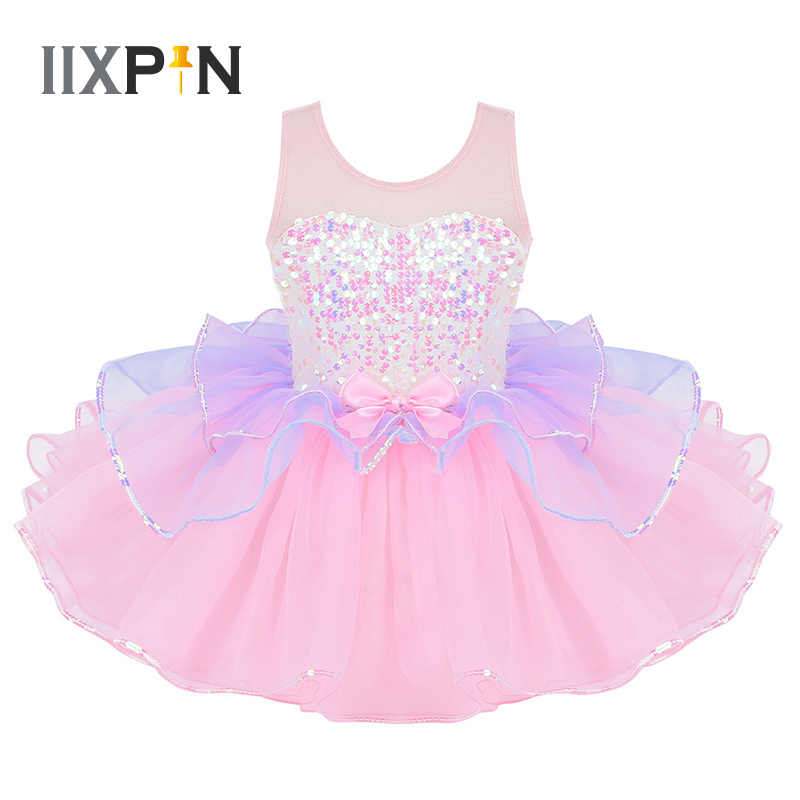 Tutu Ballet Dress for Girls ballerina tulle costume Shiny Sequins Mesh Splice Bowknot on Waist ballerina dress kids dancewear