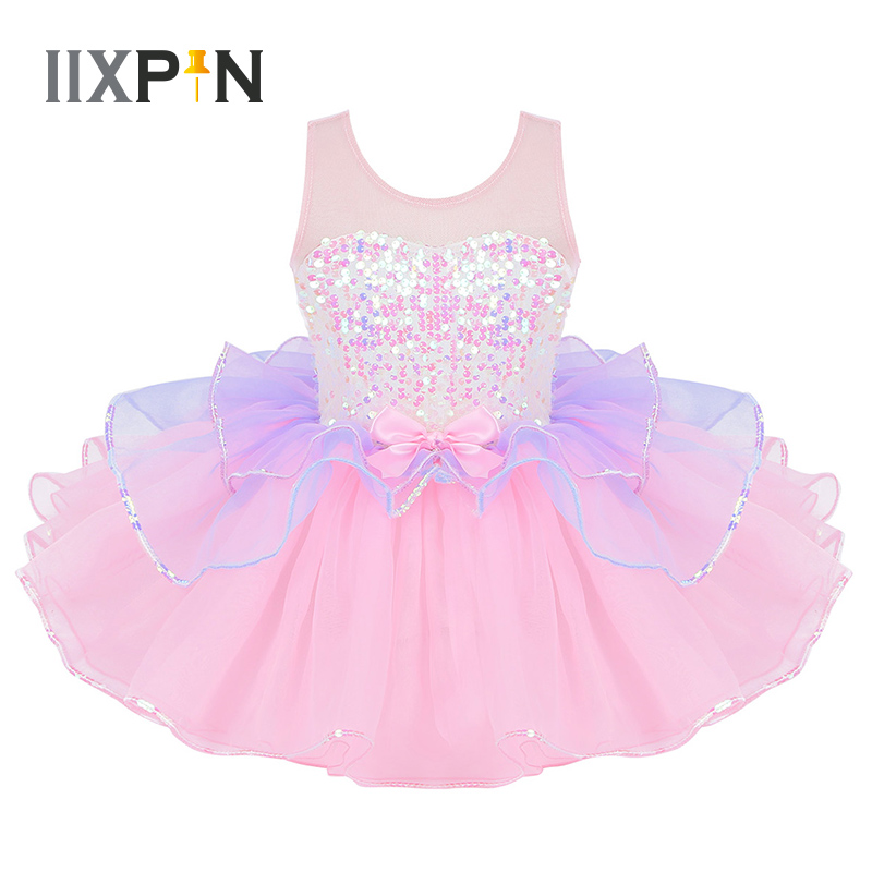 Tutu Ballet Dress Costume Dancewear Mesh Sequins Girls Shiny Kids for Tulle Splice Bowknot