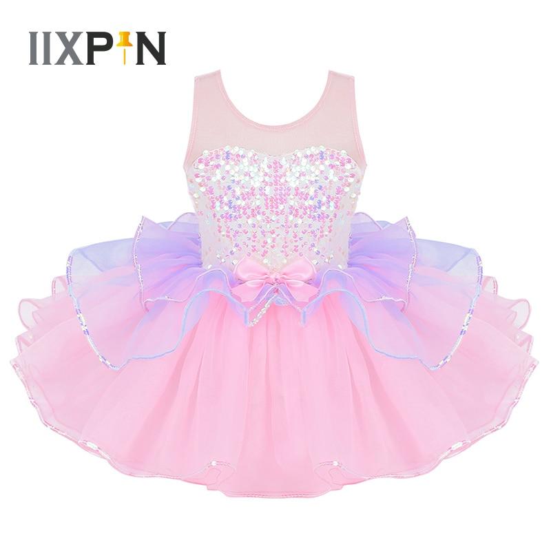 Tutu Ballet Dress For Girls Ballerina Tulle Costume Shiny Sequins Mesh Splice Bowknot On Waist Ballerina Dress Kids Dancewear