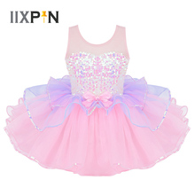 Tutu bale elbise kızlar balerin tül kostüm parlak Sequins Mesh Splice ilmek bel balerin elbise çocuk dancewear