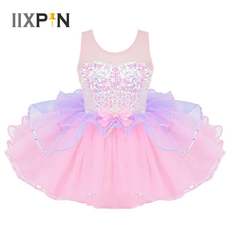 Tutu vestido de balé para meninas bailarina tule traje brilhante lantejoulas malha empalho bowknot na cintura bailarina vestido crianças dancewear