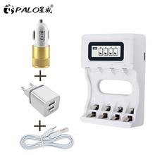 Умный аккумулятор PALO Ulrea, 4 слота, Usb зарядное устройство для AA AAA NiCd NiMh аккумуляторных батарей, ЖК дисплей, быстрая зарядка