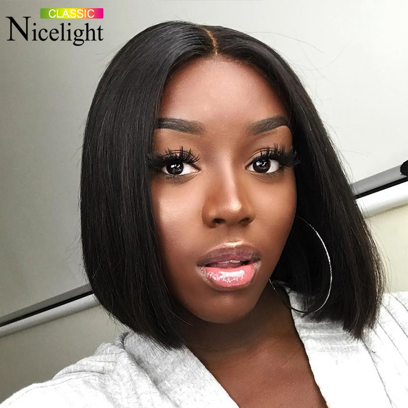Nicelight Hair 13x4 Lace Front Bob Wigs Straight Hair Wig Malaysian Human Hair Wigs Natural Color Remy Hair Wig 8-16 Inch Wigs