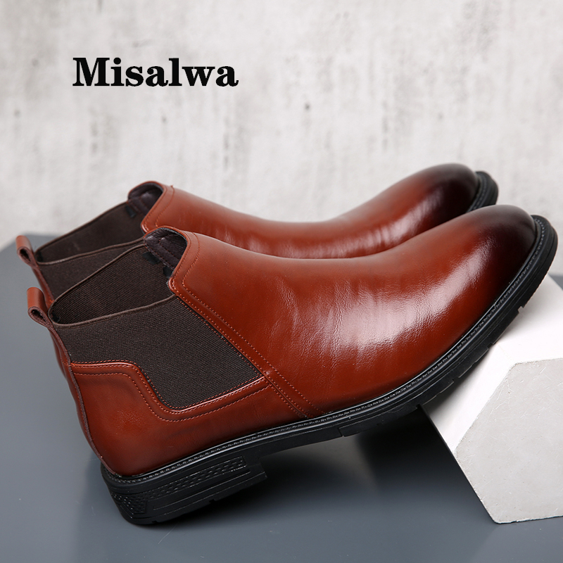 Misalwa Dropshipping 38-48 Men's Chelsea Boots Leather Elegant Dress Short Boot Spring Winter Insulation Wedding Boots Pointy