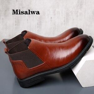 Image 1 - Misalwa Dropshipping 38 48 erkek Chelsea çizmeler deri zarif elbise kısa çizme bahar kış yalıtım düğün çizmeler sivri