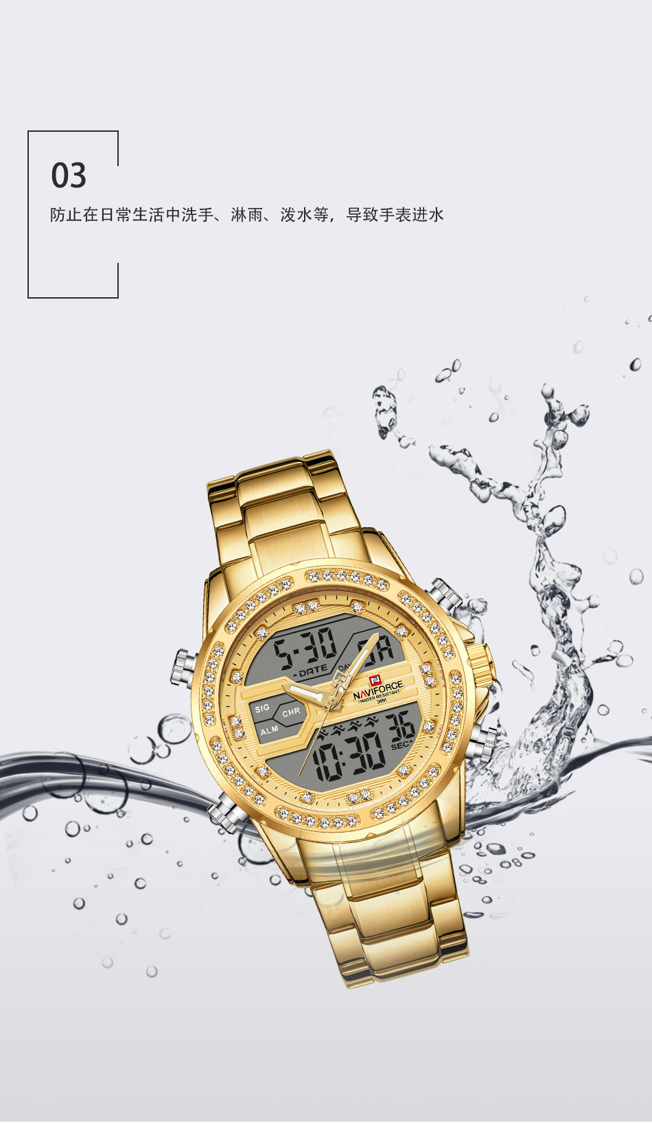 aço inoxidável relógio esportivo masculino