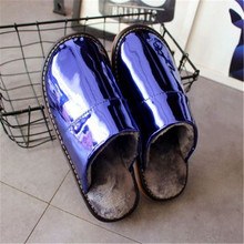 2020 New Men Winter Plush Slippers Non Slip Indoor For Slipper Leather House Shoes Waterproof Man Sewing Adult Warm Fur Shoes 44 winter home slipper man women despicable me minions slippers plush stuffed funny slippers flock indoor house shoes adult cosplay