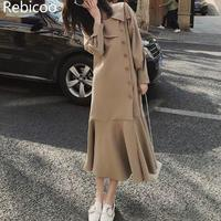Harajuku Style Ruffle Hemp Casual Dress Oblique Button Peter Pan Collar Office Lady Long Dress Soft Commute Solid Autumn Dress