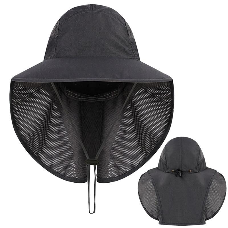 Sun Hat Men Mesh Bucket Hats Men Summer Fishing Hiking Caps Wide Brim Protection Flap Hat Men Outdoor Breathable Sun Caps