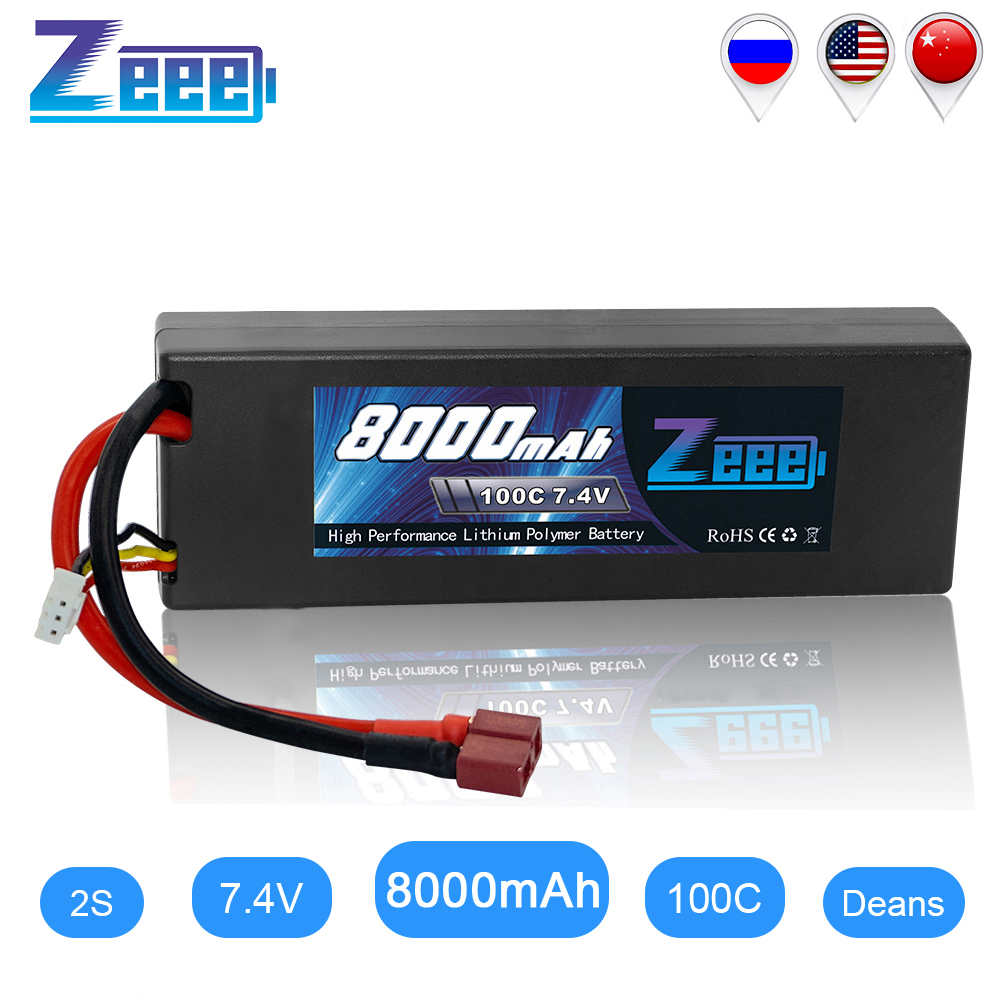 Zeee 2S RC Lipo Battery Hardcase 7.4V 100C 8000mAh RC Battery Charger Deans Plug For RC Car Truck Boat Helicopter FPV RACING