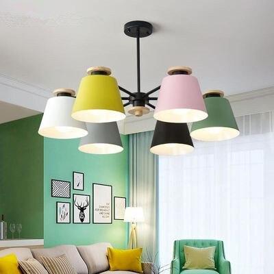 Colorful Chandelier Lighting For Living Room LED Lustre Wooden Hanging Light Ceiling Chandeliers Modern Kitchen Lights Pendant Lights    - title=