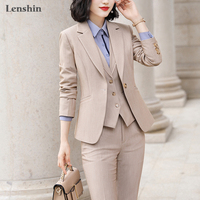 Lenshin 3 Pieces Set High quality Vest Pant Suit Office Ladies Work Wear for Women Female Formal Blazer Jacket with Trousers