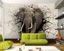 3d wallpaper elephant mural TV wall background wall living room bedroom TV background mural wallpaper for walls 3 d(China)