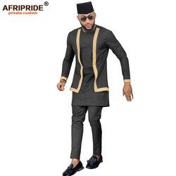 2019 Afrikaanse Heren Kleding Set Outfit Pak 3 Stuks voor Mannen Dashiki Shirt Ankara Broek Tribal Hoed Trainingspak AFRIPRIDE A1916016