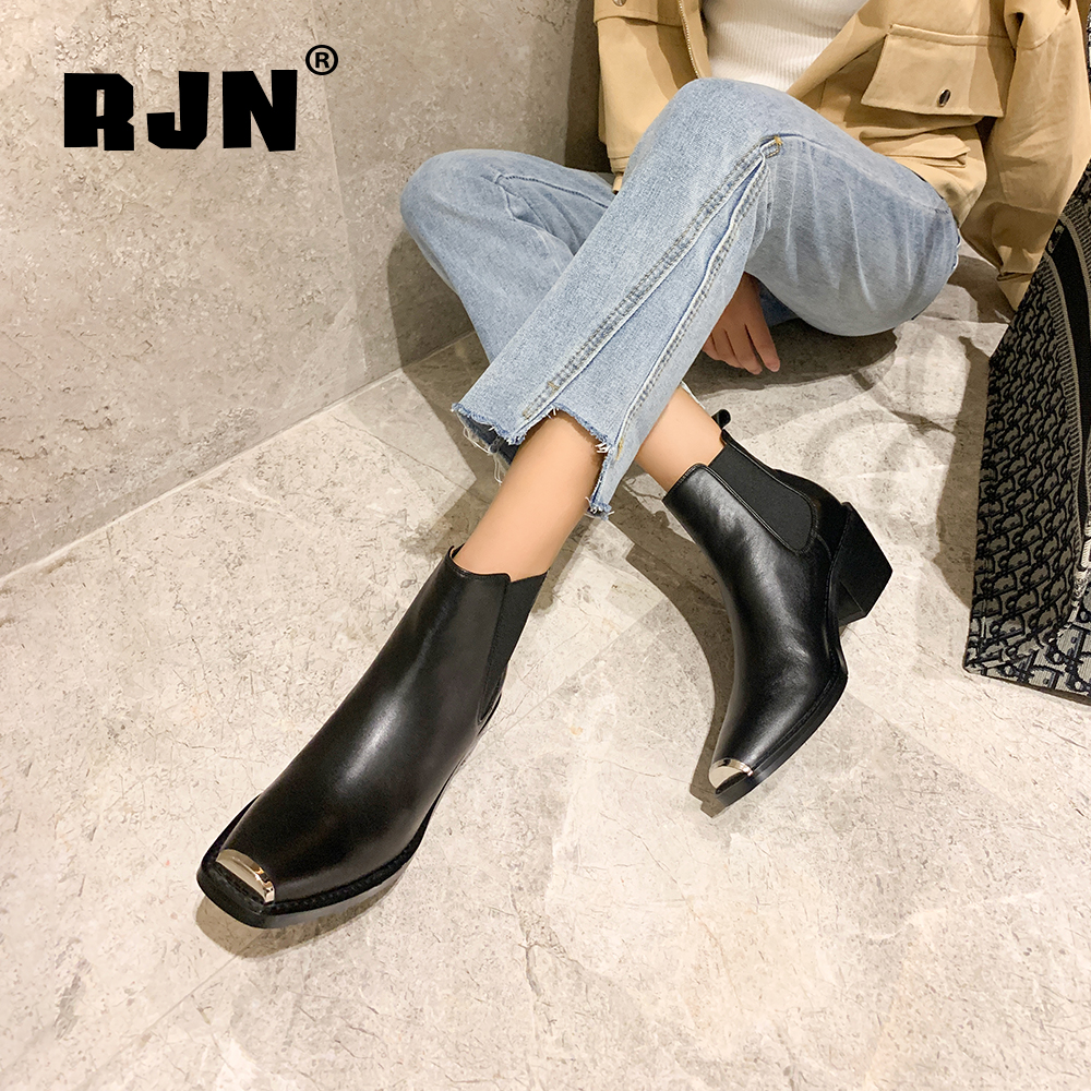 Hot Sale RJN Stylish Chelsea Boots High Quality Genuine Leather Toe Matel Decoration Med Heel Black Slip-On Shoes Women Ankle Boots RO13