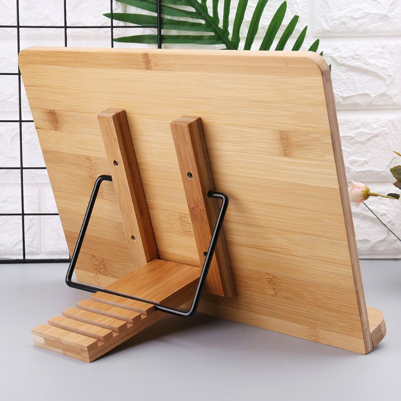 Adjustable Reading Rest Tablet Cook Home Study Room <font><b>Book</b></font> Holder Foldable Cookbook <font><b>Stand</b></font> Pages Fixed Kitchen Natural <font><b>Bamboo</b></font> image