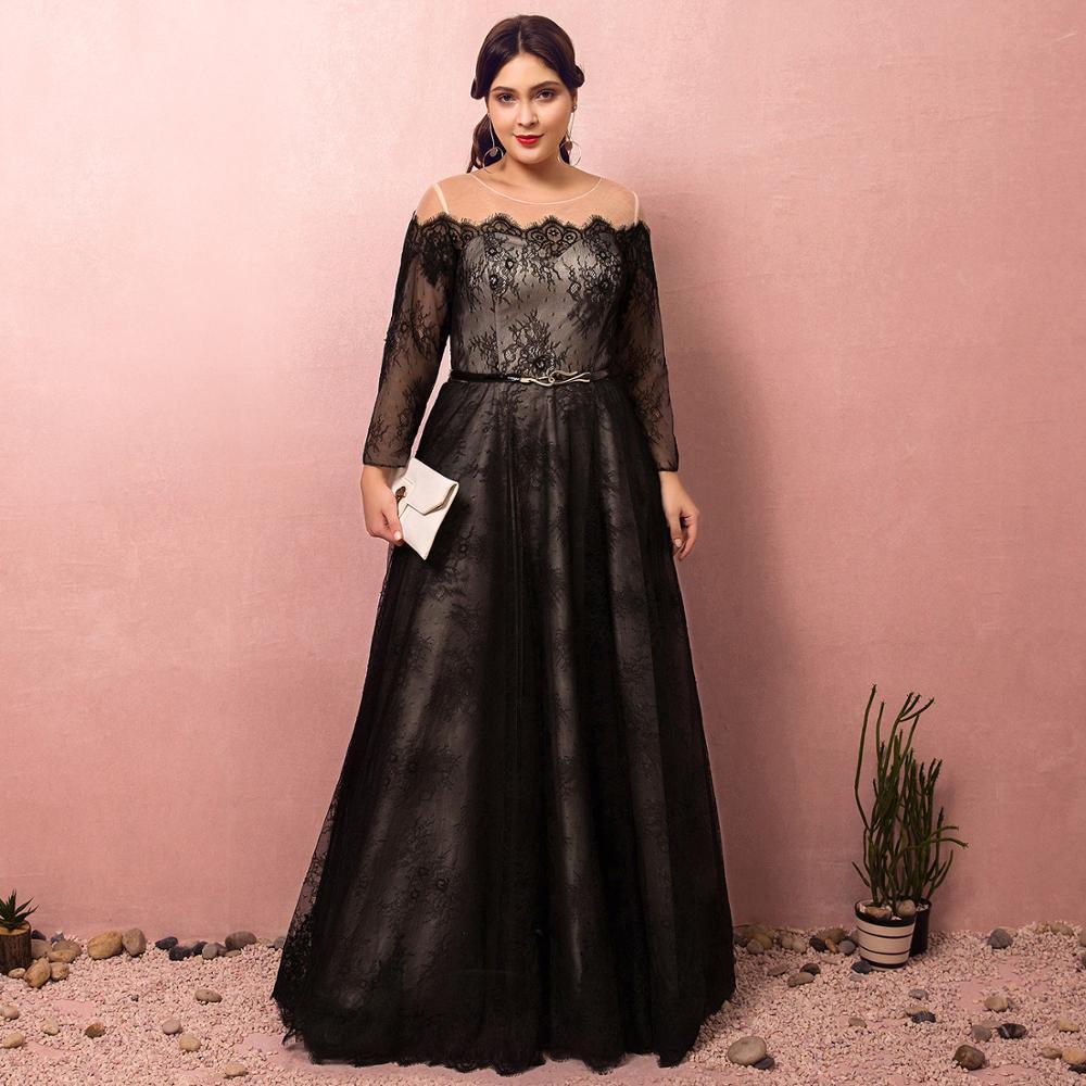 Evening Dresses 2019 Fashion A-line Bateau Natural Floor-length Lace-up Llusion Party Gown