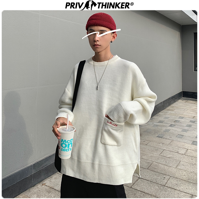 Privathinker Men Fashion 5 Colors 2019 Sweaters Mens O-Neck Pockets Harajuku Tops Male Autumn Winter Pullovers Knitted Sweater