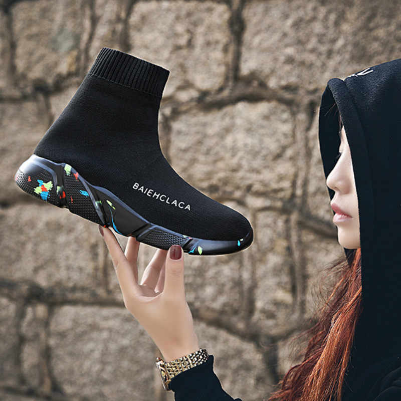 NKADQD Sock Boots Woman Hided Wedge Platform Female Casual Shoes 2018 Autumn New Wedge Lady Knitting Short Ankle Boots Platform