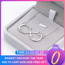 Gold Color Personalized Infinity Name Necklace With Heart Custom Couple Name Pendants Stainless Steel Jewelry Best Friend Gifts(China)