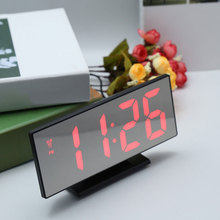New Digital Alarm Clock LED Mirror Electronic Clocks Multifunction Large LCD Display Digital Table Clock with Calendar USB Cable