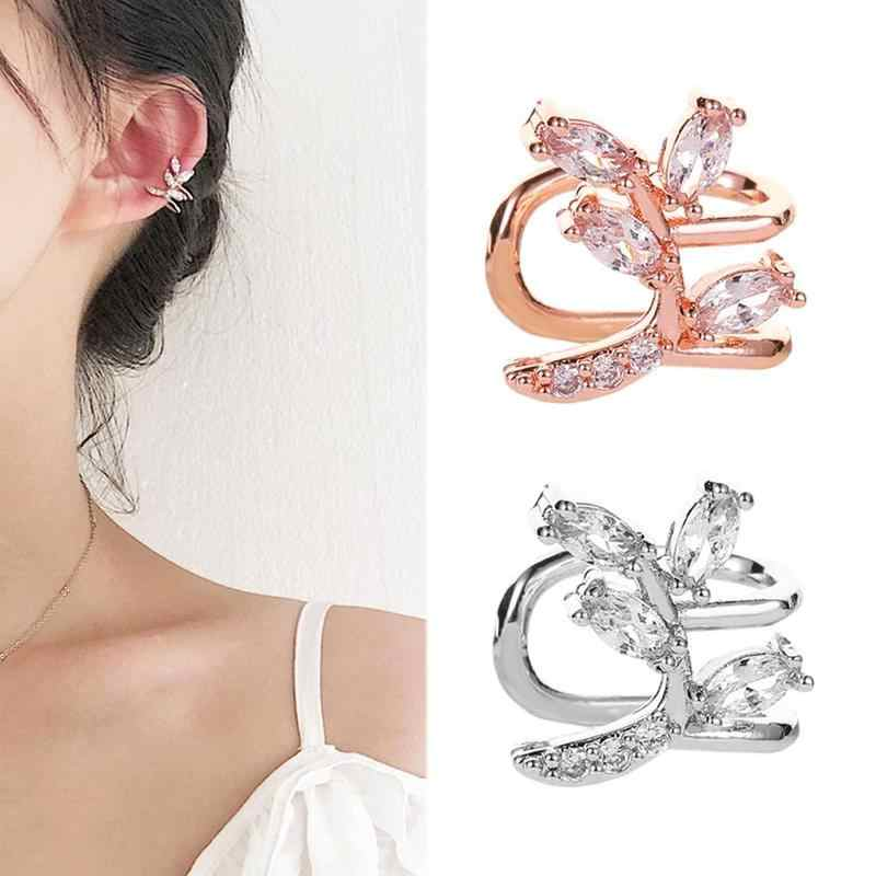 1 Pc Leaf Curved Ear Bone Clip Ear Piercing Earrings Metal Beads U-shaped Temperament Single Ear Clip Hollow Simple Earrings