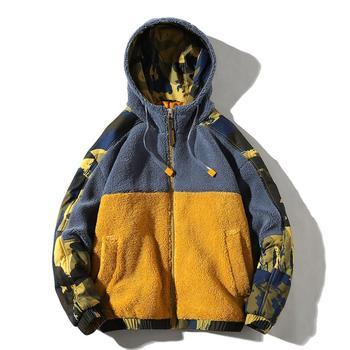 2019 Fashion Men's lambswool Hooded Jacket coat Winter men warm OuterwearJacket Stitching color plus size jackets w84