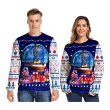 Christmas Sweater O Neck 3d Couple Print Novelty Ugly Unisex Men Women Long Sleeve Pullover Jumpers