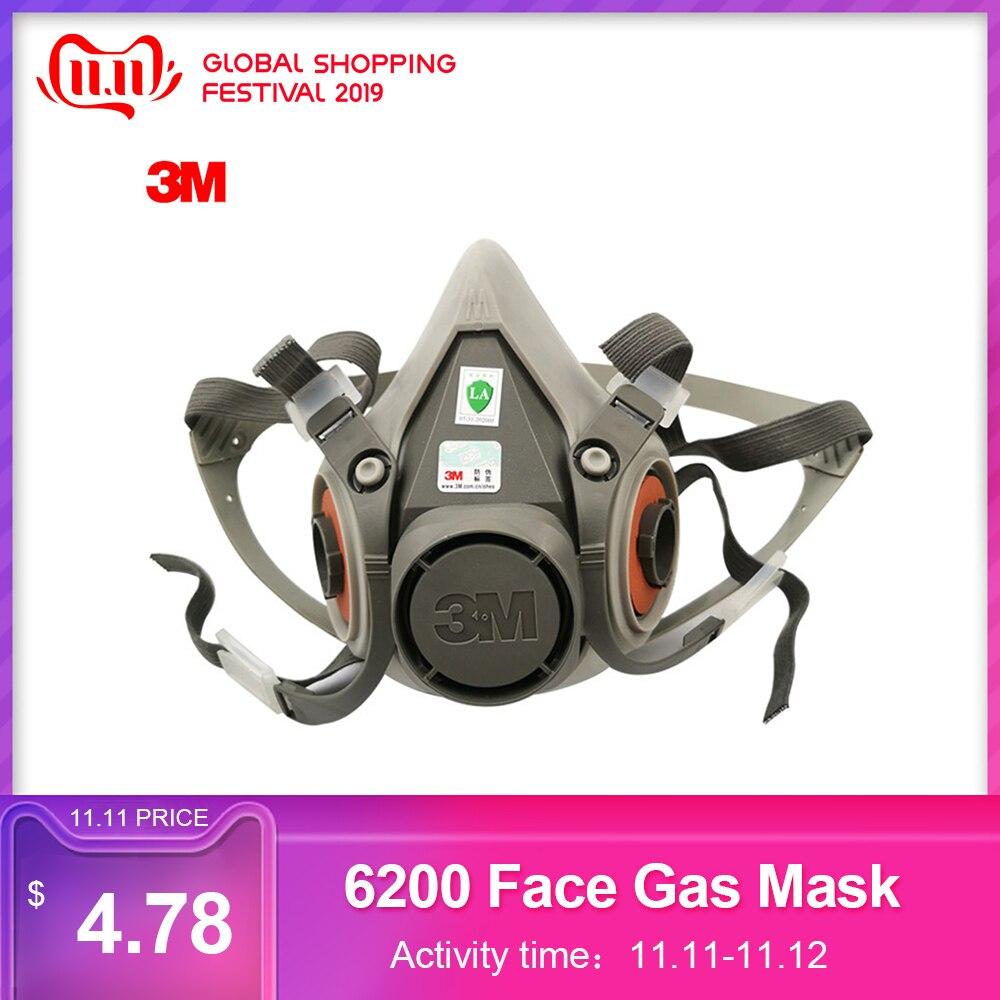 3 m 6200 rosto máscara de gás respirador orgânico à prova de poeira máscara anti haze pintura de pulverização de trabalho de segurança industrial filtro de poeira máscara