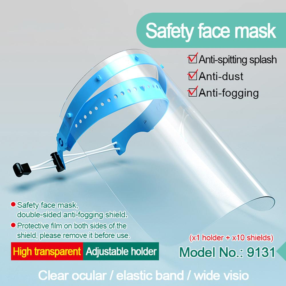 10Pcs Full Face Shield Clear Stretchy Headband Protective Mask Anti-Fog Disposable Protective Visor Shields With 1Pc Holder
