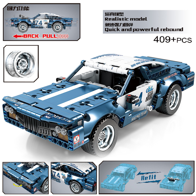 MOC 409pcs Classic City Pull Back Sports Racing Car Building Block Model High-Tech Vehicle Kid Toy Assembled DIY Bricks Gift 1