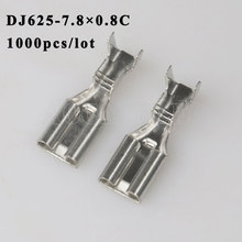 DJ625-7.8 0.8C 1000PCS plug terminal Male female wire connector Plugs socket Fuse box Wire harness Soft Jacket car terminal plug t plug y wire harness female to male t plug parallel battery pack connector cable