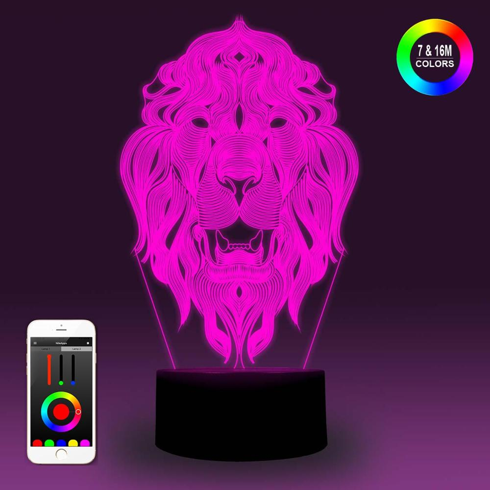 NiteApps 3D WarCraft Lion Logo Night Light Desk Table Illusion Decoration Lamp Holiday Birthday Gift APP/Touch Control