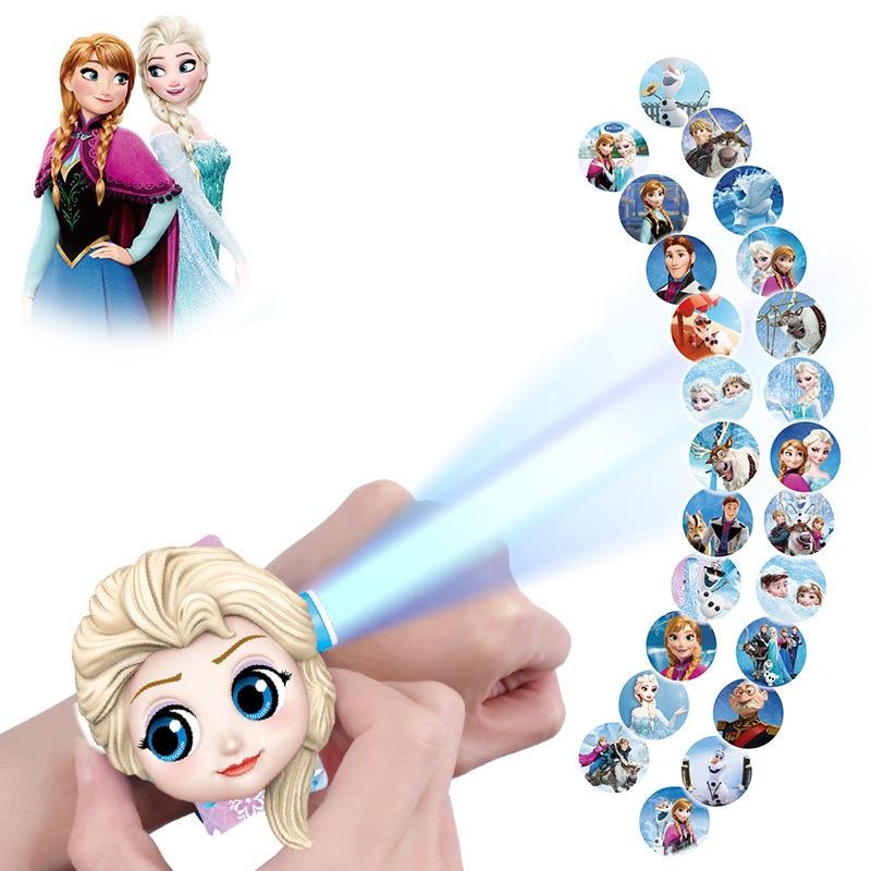 Relógio 2 3D Projeção Relógios Elsa Congelado Disney Mickey & Minnie Mouse Figura Anime Relógio Eletrônico Meninos e Meninas Presente