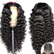 YYong-Peluca de malla con división 13x6x1 y 1x4, peluca Remy brasileña suelta y transparente profundo, malla con división pelucas de cabello humano 30, 32 pulgadas de largo, prearrancada