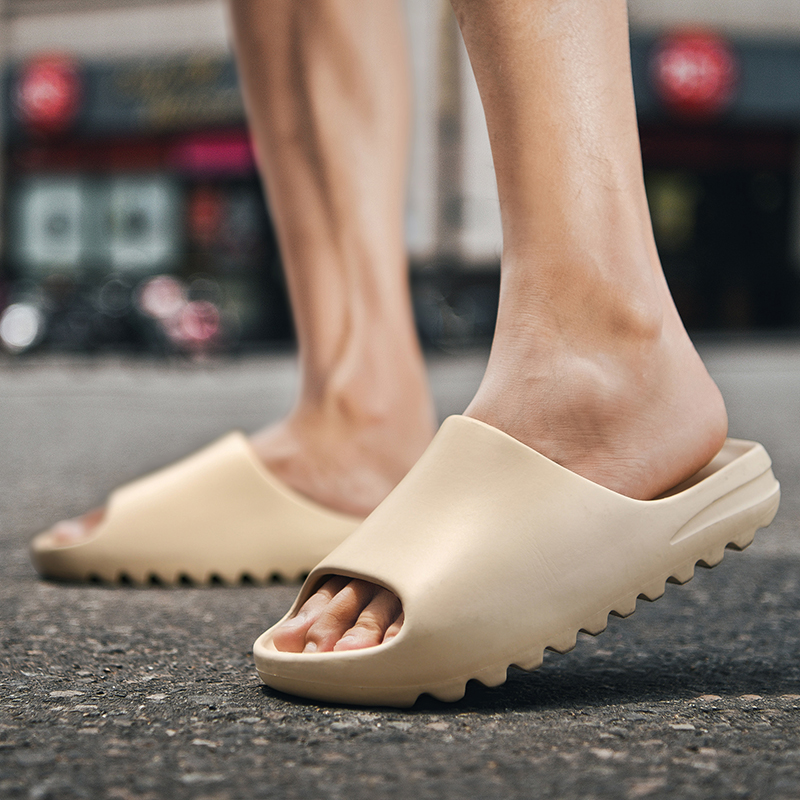 Men's Summer Yzy Slides Breathable Cool Beach Sandals Flip Flops Fish Mouth Men Slippers Lightweight Bone White Plus Size 35-46