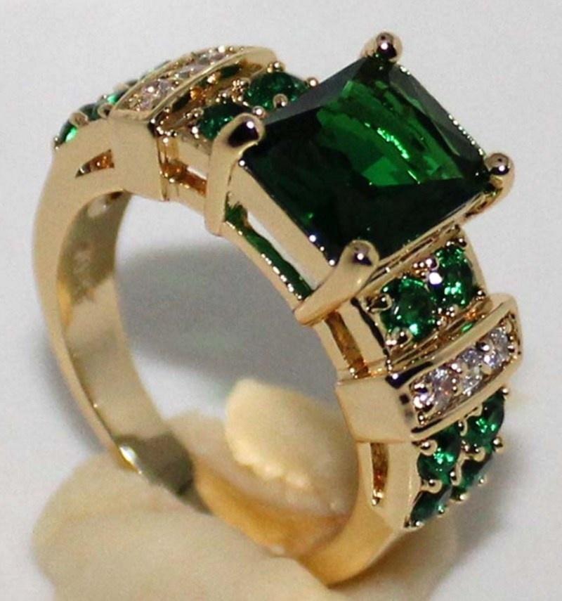 Fashion Luxury Popular Shiny Green Zircon Female Engagement Wedding Ring